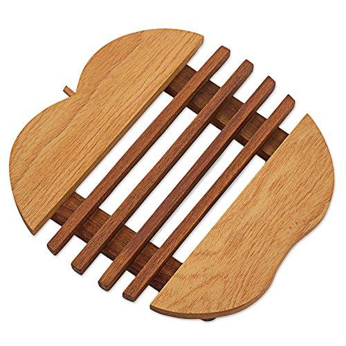 NOVICA Brown Handcrafted Reclaimed Cedar Wood Apple Shaped Trivet Hot Plate , 'Sweet' ()