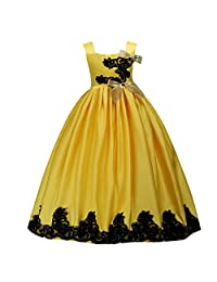 Kids Prom Formal Birthday Party Flower Girl Pageant Lace Dress Long Maxi Gowns