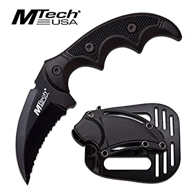 MTech USA Fixed Blade Tactical Knife G10 Texture Handle with Holster 2 Inch Blade (BLACK)
