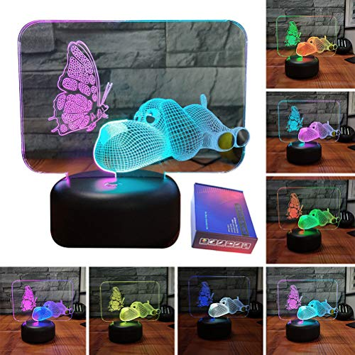 Dog Puppy Butterfly LED 3D Illusion USB Multi Color Lamp Christmas Present Birthday Gift Night Light for Little Baby Boy Girl Kid Nursery Bedroom Room Decor (dog butterfly) ()