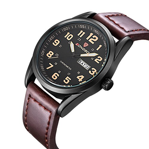 LONGBO Sportive Matte Borwn Leather Band Analog Quartz WristWatch Mens Leisure Multifunction Military Luminous Watches Day Date Calendar (No White Expansion Dial Band)