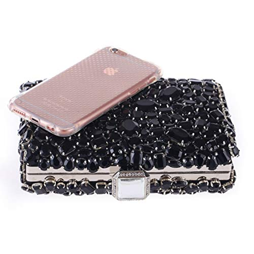 Banquet Evening Handbag Purse Black Acrylic Bag Clutch Shoulder JESSIEKERVIN Diamond Crossbody w1UAqYax