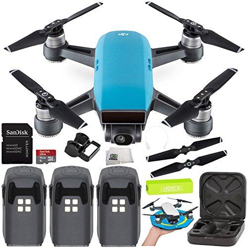 DJI Spark Portable Mini Drone Quadcopter Ultimate Palm Landing Pad Bundle (Sky Blue) by SSE