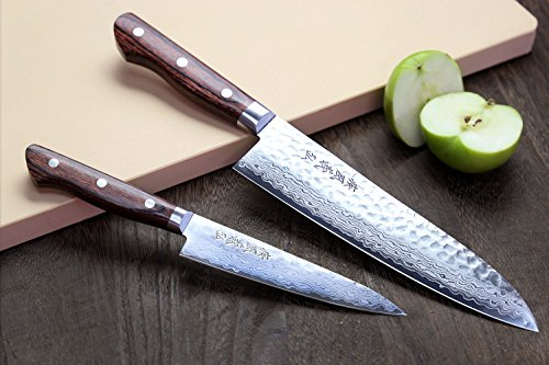 Yoshihiro VG-10 16 Layer Hammered Damascus Stainless Steel Gyuto 8.25'' (210mm) Japanese Chefs Knife & Petty Utility Knife 5.3'' (135mm) SET by Yoshihiro (Image #4)