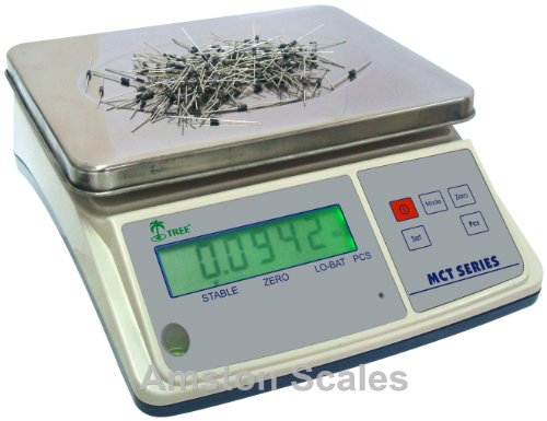 3.3 LB x 0.0001 LB / 1.5 KG x 0.05 Gram Medium (10 x 7.5 Inch Tray) Counting Scale Coin Parts Inventory Paper Piece by Amston Scales