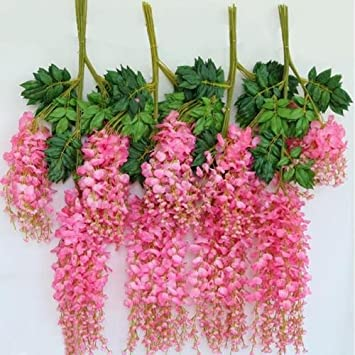 Amazon.com: 12 x Pink Artificial Silk Wisteria Fake Garden Hanging ...