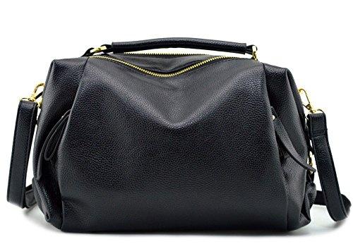 (Mn&Sue Utility Women Soft PU Leather Handbag Shoulder Bags Top-handle Compartment Pillow Lady Satchel (Black))