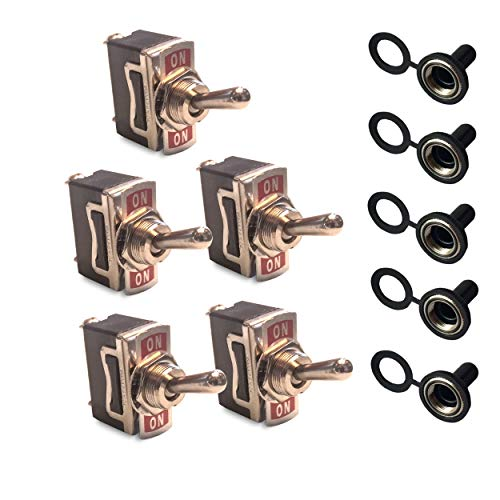 12V Toggle Switches with Waterproof Rubber Boot Covers (5 Pack) — SPDT 3-Pin Momentary (ON)-OFF-ON (Race Off Buggies Road)
