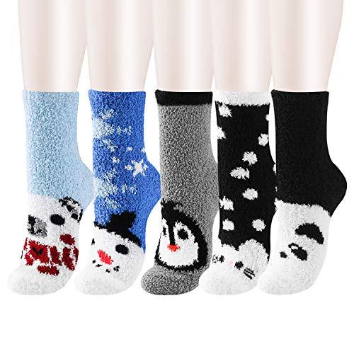 WaySoft 5-Pack Women Girls Indoors Fluffy Holiday Winter Fuzzy Warm Slipper Crew Socks Value Pack