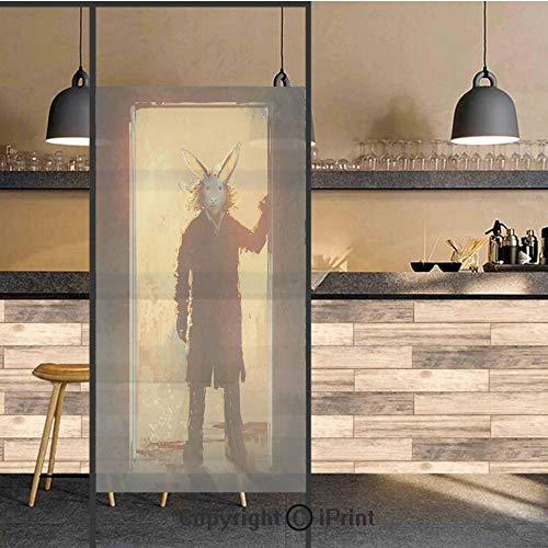 3D Decorative Privacy Window Films,Man with Rabbit Mask at The Door Spiritual People Acrylic Paint,No-Glue Self Static Cling Glass Film for Home Bedroom Bathroom Kitchen Office 17.5x48 Inch