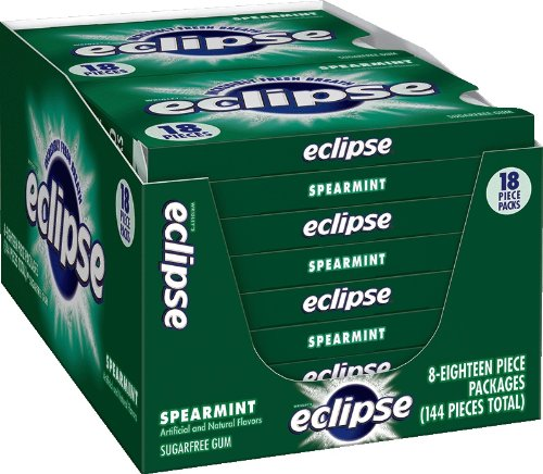Eclipse Spearmint Sugarfree Gum, 18 Piece (Pack of 8)