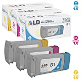 LD Remanufactured Replacement for HP 81 Set of 3 Ink Cartridges: 1 C4931A Cyan, 1 C4932A Magenta, 1 C4933A Yellow for DesignJet 5000 Dye, 5000 Series, 5000ps Dye, 5500 Dye and 5500PS Dye
