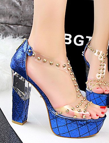 LFNLYX Zapatos de mujer-Tacón Robusto-Tacones / Punta Abierta-Sandalias-Casual-Semicuero-Negro / Azul / Rojo / Plata / Oro / Champán Blue