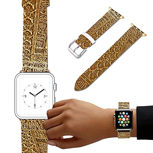 For Apple Watch, Natural color Floral Printed Leather Watch Band 38mm 42mm Strap for Apple Watch 3, 2, 1 Flower Design Wrist Watch iwatch Bracelet-556.Pattern, Decoration, Spanish, Arabesque