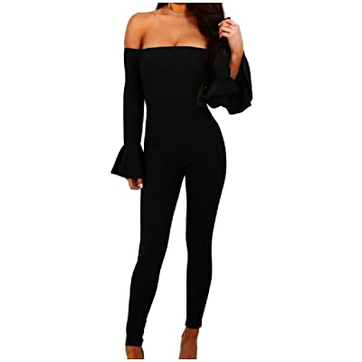 Abetteric Womens Pure Long Sleeve Off-sholder Sexy Bodycon Jumpsuit Romper