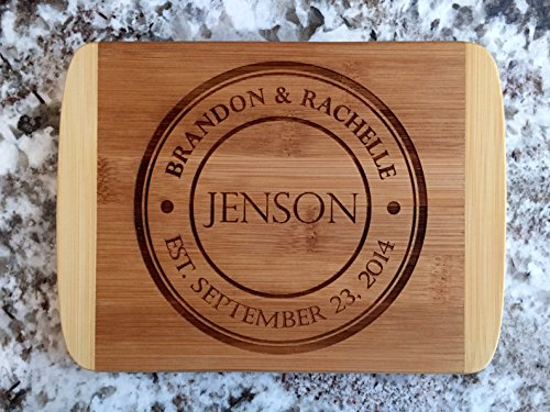 - Personalized Mini Cutting Board - Decorative Small Wood Cutting Board for Housewarming Gifts, Also Bridal Shower and Wedding Gifts (6 x 8 Two Tone Bamboo with Curved Edges, Jenson Design)