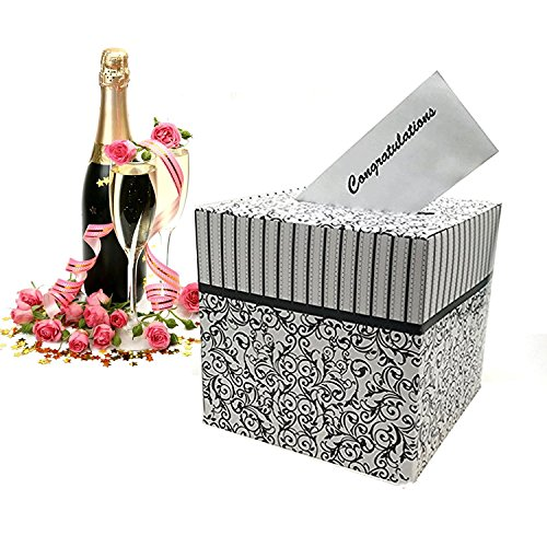 Elegant Black Gift Box (Adorox Black & White Wedding Card Money Gift Box Reception Wishing Well Party Favor Decoration)