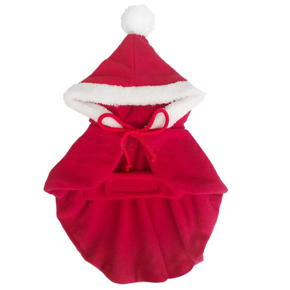 QinMM Pet Christmas Dress, Hundekatze Regen Mantel Kleidung braune Umhänge Hunde Elch Umhang Welpen Bekleidung, süß und warm, XS-XL