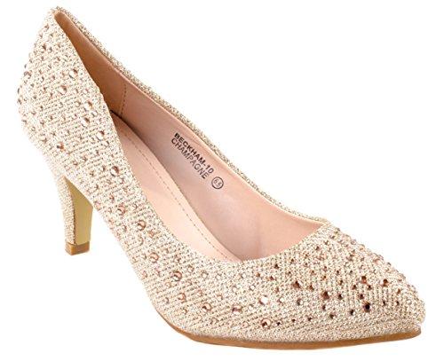 Bella Marie Womens Beckham-10 Pointed/Rhinestones High Heel Pumps Champagne IJ0PDFzbD1