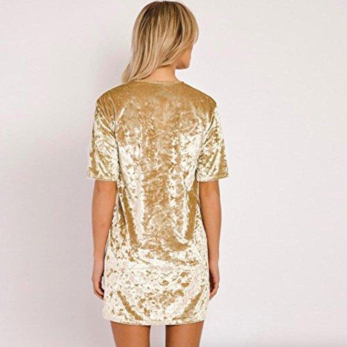 Vestidos para mujer, Vovotrade Mujeres Vestido de manga corta de terciopelo golden