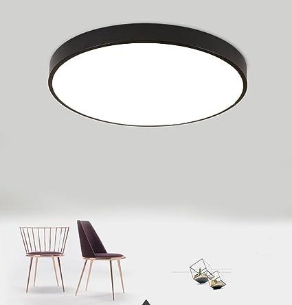 Luces de Techo LED Redondas Modernas Lámparas de techo de Montaje Empotrado Lampara de Techo Iluminación interior Minimalista 15W Negro Regulable
