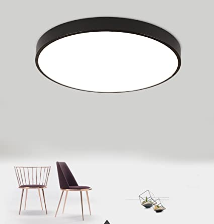 Luces de Techo LED Redondas Modernas Lámparas de techo de Montaje Empotrado Lampara de Techo Iluminación interior Minimalista 15W Negro Blanco Frio