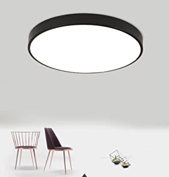 Modern Round LED Ceiling Lights Flush Mount Fixture Ceiling Lamp Minimalist Indoor Lighting Black Dimmable
