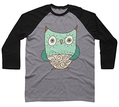 Swirl Owl Men's Small Charcoal Heather/Black Raglan Sleeve Baseball Tee