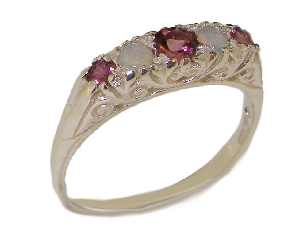 925 Sterling Silver Natural Pink Tourmaline and Opal Womens Promise Ring - Size 6.5