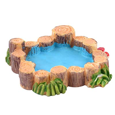 triumth Fairy Garden Accessories Micro Landscape Ornaments, Garden Modeling Wooden Stakes Pools Grasslands Retro Wells Mountain Currents: Home & Kitchen