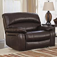 Damacio U9820082 54 Zero Wall Power Wide Recliner with Bustle Back Design Pillow Padded Arms and Constructed with Metal Drop-In Unitized Seat Box in Dark Brown