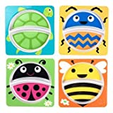 Animal Melamine Plate Bundle Set of 4 with Bunnies Lady Bug, Spider, Turtle and Bee Designs