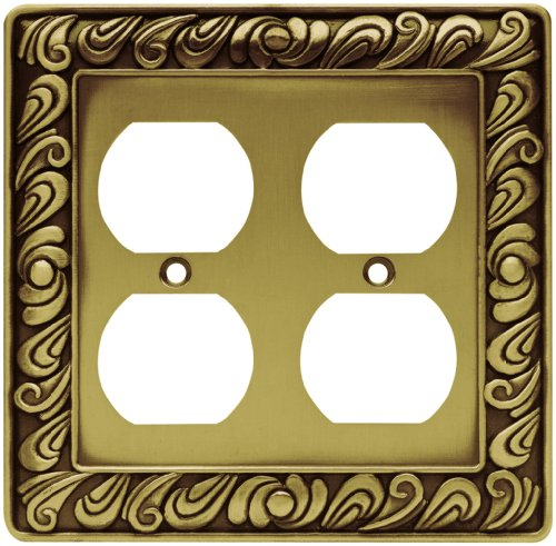Franklin Brass 64197 Paisley Double Duplex Outlet Wall Plate / Switch Plate / Cover, Tumbled Antique Brass (Double Duplex Switch Plate Covers)