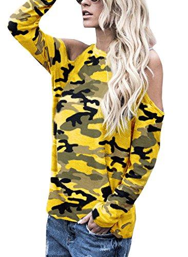 Vif Tous Femme Tops Camouflage et Fashion paule Automne Rond Casual Tunique Les Longues Printemps Dnude Col Jaune T Shirts Manches Blouses Haut de Jours gqw8EU