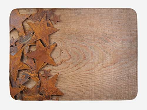 Lunarable Western Bath Mat, Rusty Stars on Wooden Background Aged Antique Vintage Country Design, Plush Bathroom Decor Mat with Non Slip Backing, 29.5 W X 17.5 W Inches, Dark Orange Warm Taupe ()