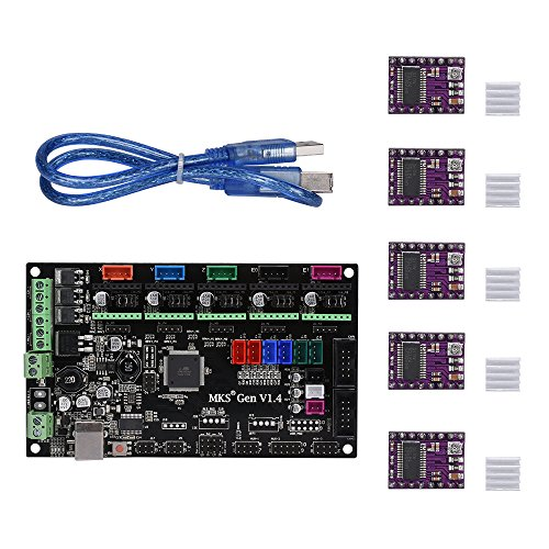 KINGPRINT MKS-Gen V1.4 Controller Board+5PCS DRV8825 stepper motor Mega 2560 motherboard RepRap Ramps1.4 compatible +USB Cable for 3D Printer