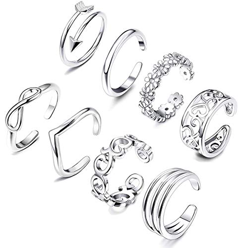 Sunmoon 8PCS Open Toe Rings Set for Women Hypoallergenic Adjustable Flower Knot Simple Arrow Tail Ring Band Sandals Foot Jewelry