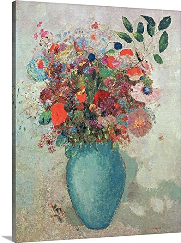 Odilon (1840-1916) Redon Premium Thick-Canvas Wall Art Print entitled Flowers