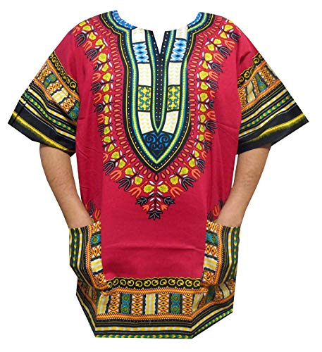 irls Dashiki Shirts S, M, L, XL African Hippie Men Women Dashiki Blouse Shirt 1X, 2X, 3X (Small Fuchsia) ()