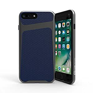 iPhone 7 Plus Case, CaseCrown Telex 2-Piece Metallic PC & Geometric Print TPU Case (Navy / Space Gray)