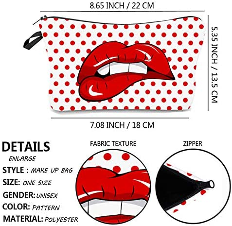 Cosmetic Bag for Women,NIUTA Adorable Roomy Makeup Bags Travel Waterproof Toiletry Bag Accessories Gifts. (Red Lips)