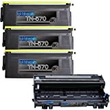 (1 Drum + 3 Toner) Replacement toner cartridges for Brother TN570 DR510 Toner Cartridges and Drum replacement for Brother DR-510 TN-570 Set, Office Central