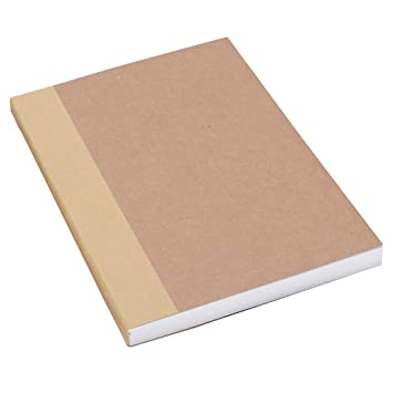 "A5 Blank Notebook 5.8""x8.25"" Sketch Book, 100 Sheets, Thick 100gsm Paper & Kraft Cover, Great for Sketching, Writing and Journal Refills"