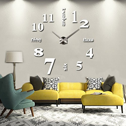 Funwill DIY Large Acrylic Mirror Wall Clock 3D Numbers Design Sticker for Living Room Fashion Clock Home Decor Art Gift (Sliver)