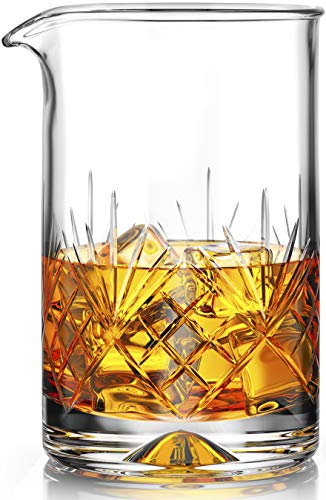 Crystal Cocktail Mixing Glass - Thick Weighted Bottom - 18oz (550ml) - Premium Seamless Design - Professional Quality - Great Gift Idea ()