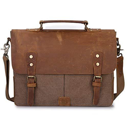 (S-ZONE Vintage Canvas Messenger Bag School Satchel Shoulder Bag for 14 inch Crossbody Bag for Men and Women)