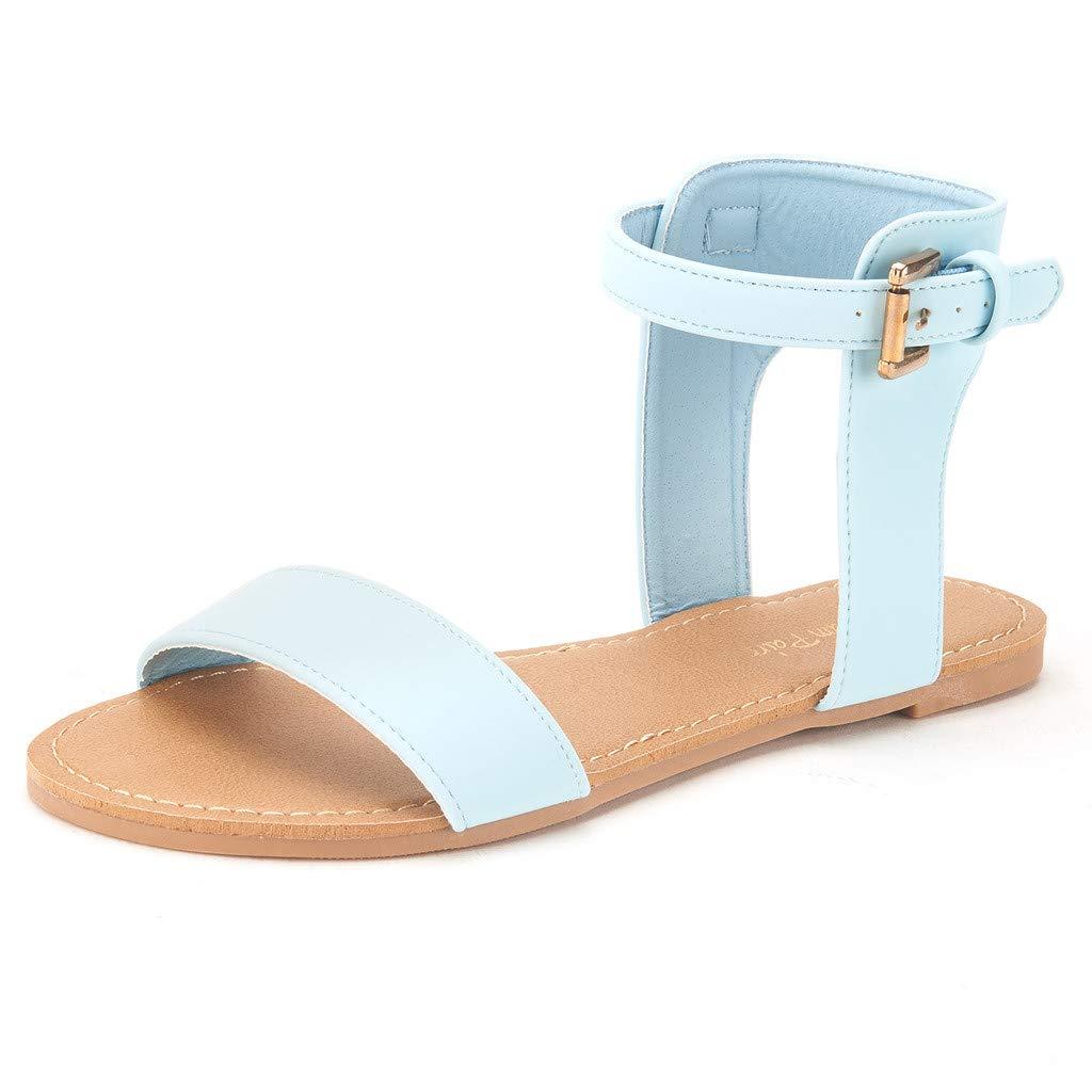 DREAM PAIRS Women's Alexa Ankle Strap Buckle Flat Sandals