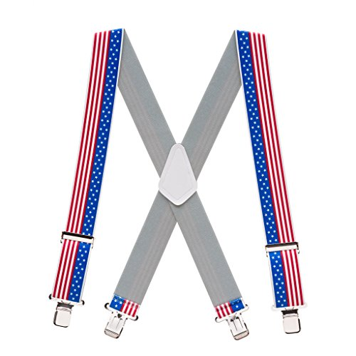 Suspender Store Mens USA Stars and Stripes Suspenders - 2 Inch (Red White And Blue Suspenders)