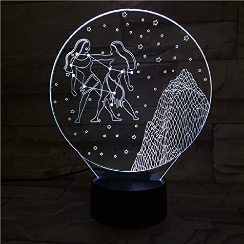 WEREWTR 3D Night Light Gemini 3D Illusion Lamp Led 7 Color Changing USB Touch