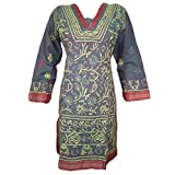 Womens Indian Kurta Tunic Grey Hand Embroidered Cotton Boho designer luxe Dress